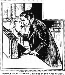 "Illustration from ""The Great Suit Case Mystery"" by Jacques Futrelle."